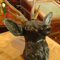 Carved Wood Stag's Head