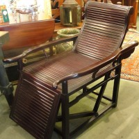 Pair of Solid Rosewood China Trade Reclining Chairs