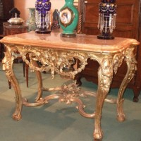 Italian Carved Giltwood Console Table with Marble Top