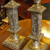 Pair of Elaborate Brass Candlesticks