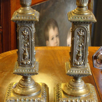 Pair of Elaborate Brass Candlesticks